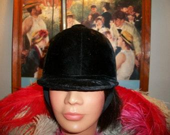 Vintage Black Velvet Riding Hat