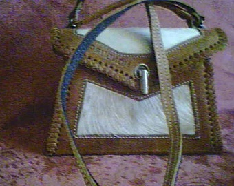 Vintage 70s  Leather and Calf Hair Purse
