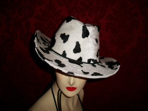 Vintage 80s Faux Animal Print Hat