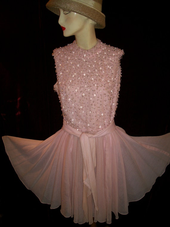 Vintage 50s Jack Bryan Pale Pink  dress with pearls and beads