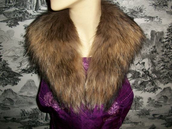 Vintage 80s Fox Fur Wrap Stole Collar Shawl Capelet