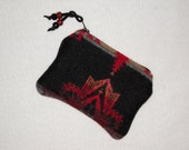 Pendleton Wool Black Twilight Southwestern Geometric Zippered Pouch / Coin Purse / Gift Card Holder Christmas in July
