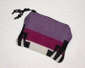 Wool Zippered Pouch / Coin Purse / Gift Card Holder Purple Eagle Rock Southwestern Geometric