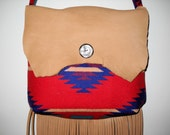 Red Big River Pendleton Wool Southwestern Fringed Possibles Purse / Bag Large