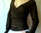 Organic wrap top, custom made organic clothing, wrap shirt, handmade clothing for women