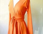 RESERVED - Limited Edition long sleeve belted Cardigan in Pumpkin orange  -  organic cotton  custom handmade