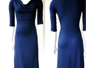 Long navy blue dress, more colors, draping neckline dress, cowl dress, organic cotton dress, maxi dress, handmade custom dress