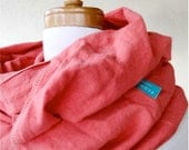 Linen infinity scarf,  wrap neck warmer in pink grapefruit, natural linen neck wrap