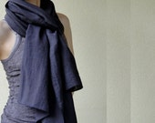LAST ONE Wool linen large scarf wrap in black plum