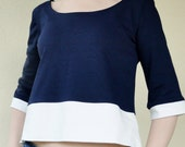 SALE Cropped top in navy wool blend