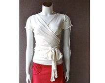 Yoga wrap top with ruffled hem, handmade wrap top,  organic women's clothes, white wrap top or more colors.