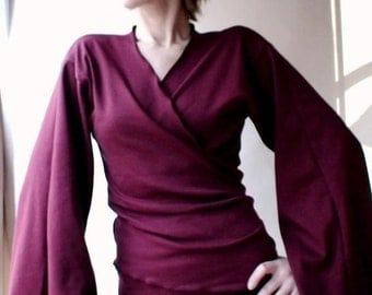 Organic cotton wrap with flare sleeves, kimono style shirt, wrap shirt top, organic clothes, handmade in Canada
