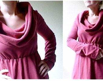 Long cowl dress, winter dress, organic cotton dress, maxi dress, red dress with cowl, sweater dress