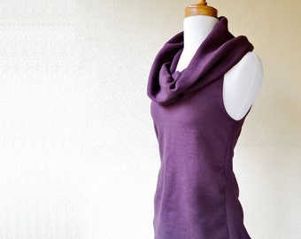 Women's sleeveless top with shawl cowl