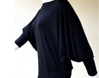 SALE Dolman sleeve shirt, organic cotton sweater top, sloped shoulder top, black sweater top