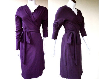 Maxi wrap dress in organic cotton, custom handmade organic clothing