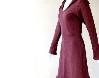 Organic hooded dress, knit jersey dress, hoodie dress, custom clothing