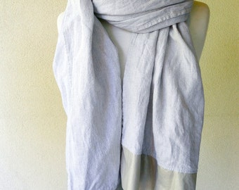 Extra Large linen blend shawl wrap scarf in grey stripes