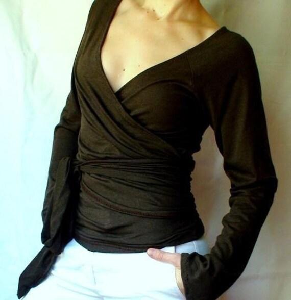Organic Cotton Bamboo Wrap Shirt Yoga Top Custom Handmade