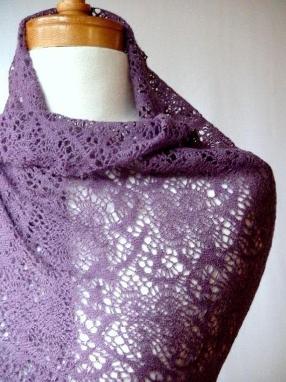 LAST ONE SALE Wool lace knit shawl scarf in Soft Plum purple
