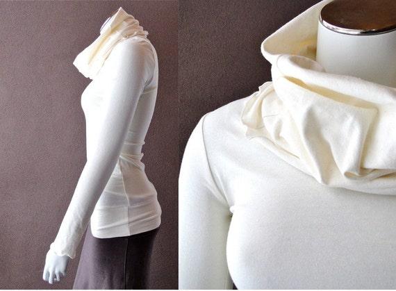 Long pullover sweater, cowl  sweater, organic cotton shirt, organic sweatshirt, handmade clothes, custom women's clothing