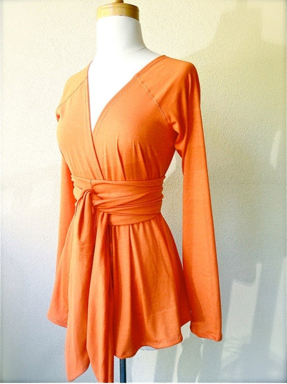LAST ONE - Limited Edition long sleeve belted Cardigan in Pumpkin orange  -  organic cotton  custom handmade