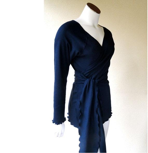 Organic cotton wrap top, custom women's clothing, handmade tunic shirt, long sweater, wrap top