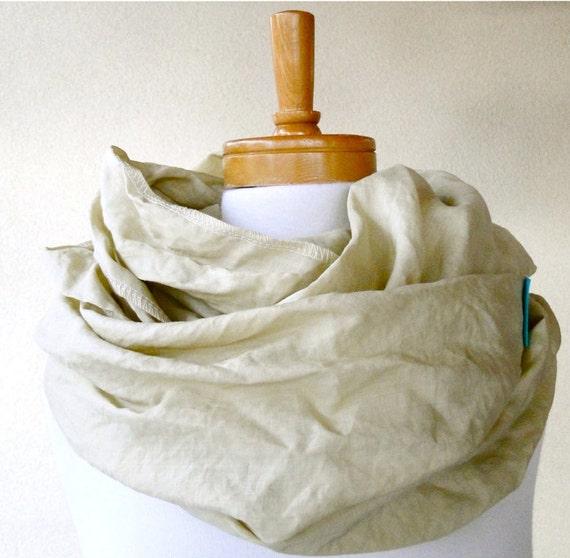 SALE Hemp silk infinity scarf  wrap neck warmer