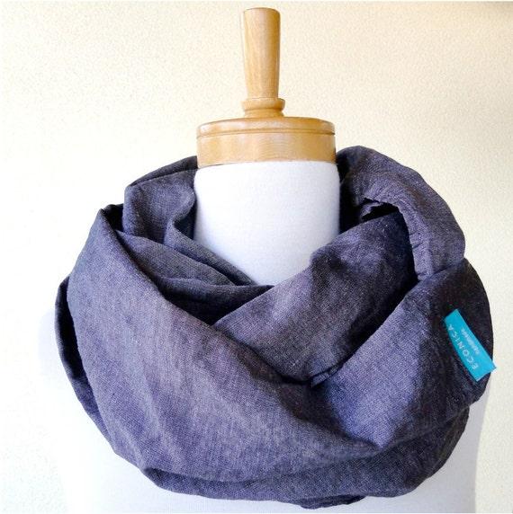 Last one SALE Wool silk infinity scarf wrap for him charcoal grey cloth