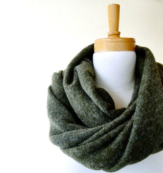 Merino Wool Blend Infinity Scarf Wrap Shawl Olive Green Last