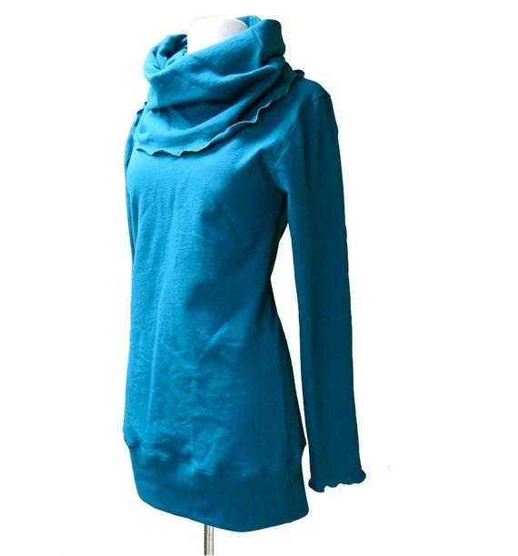 Organic long tunic or short dress, custom organic clothing, cowl tunic dress