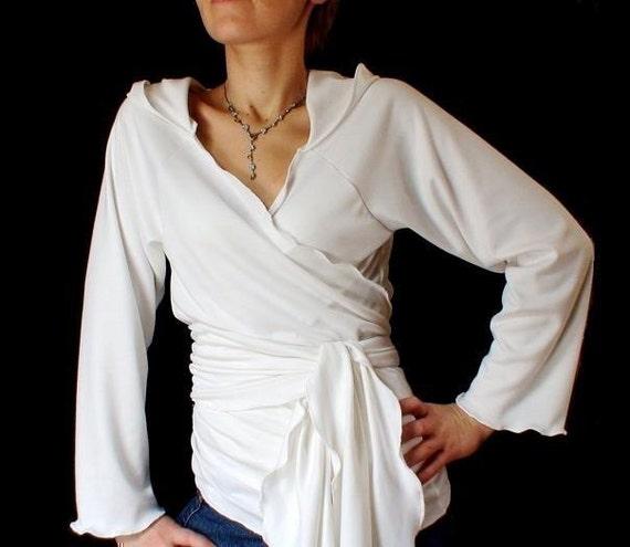 Organic hoodie wrap top, handmade wrap shirt, made in Canada organic women's clothing