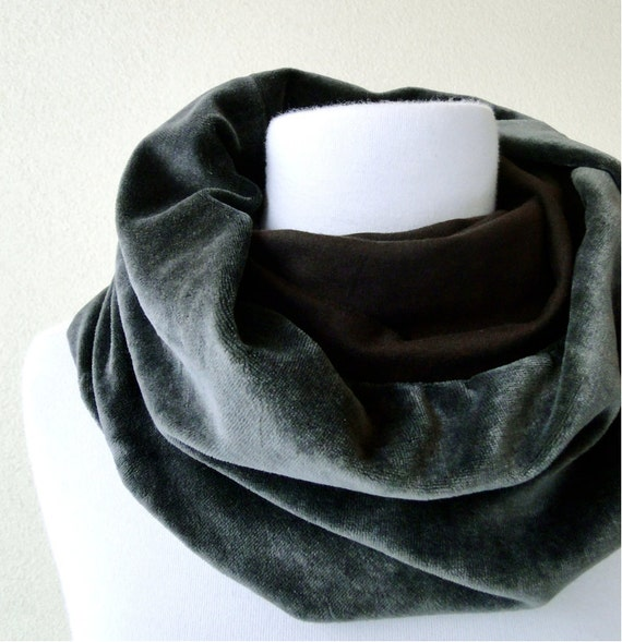 SALE Organic cotton scarf neck warmer pale olive gray