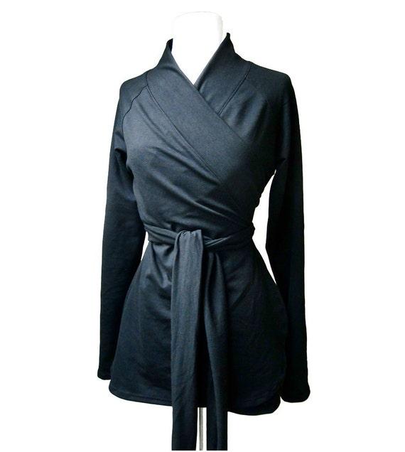 Organic french terry shawl wrap shirt, wrap top, wrap tunic, organic cotton clothing