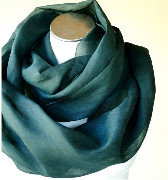 Organic cotton organza scarf shawl wrap in forest green