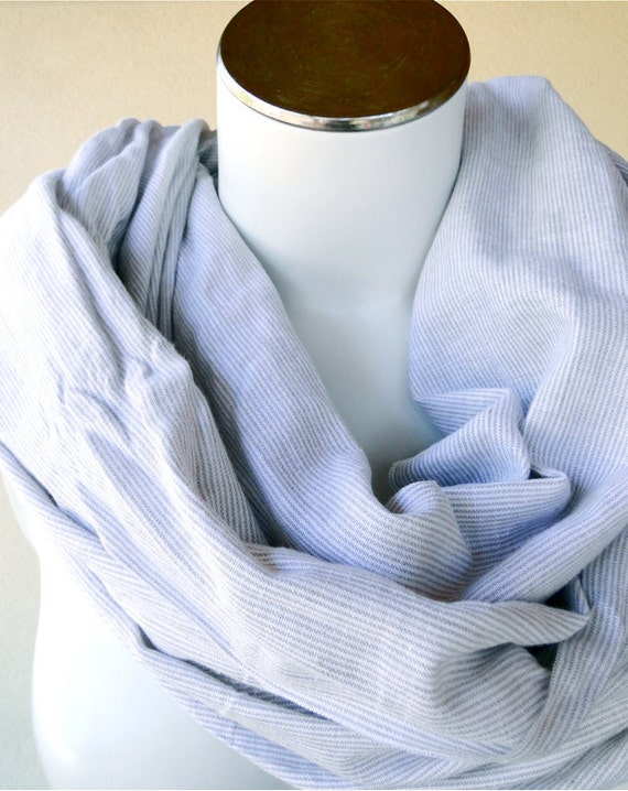 SALE Cotton linen womens scarf wrap in grey white stripes