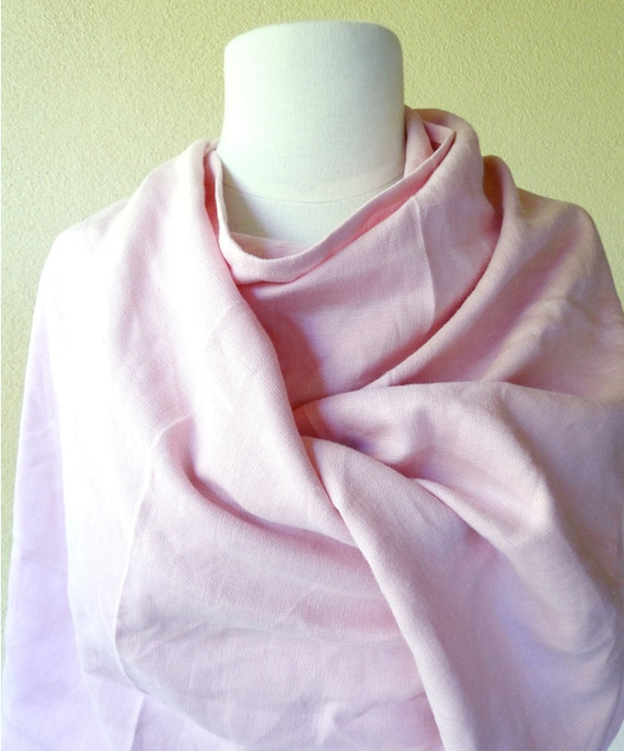 Large pink scarf - linen scarf - pink linen infinity scarf -  linen shawl wrap