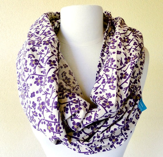 Very large linen blend shawl wrap infinity scarf in vintage japanese print