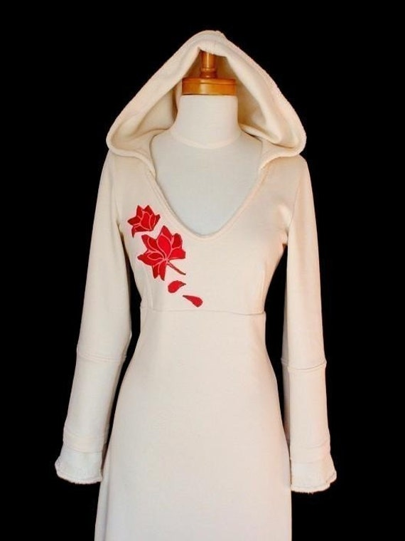 HOODED DRESS - organic cotton\/bamboo and applique in natural. sage green, apple green, cranberry, oyster, black, cinnamon and latte CUSTOM MADE IN YOUR SIZE