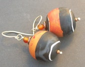 artisan polymer clay earrings black red orange colorblocked beads- isis
