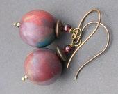 handmade polymer clay plum lavender teal gold patchwork beads- renatta