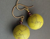 polymer clay antiqued green earrings-  green day