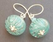 lampwork earrings clear glass with aqua blue striped beads-  aqua dream
