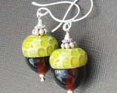 boro glass earrings  brown and lime acorn beads-  acorn