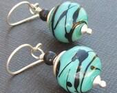 Reserved for shrunkenworlds..........lampwork glass earrings retro turquoise black beads- mid century