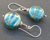 lampwork glass earrings metallic teal, aqua, cobalt blue silver patterned beads-  blue ice
