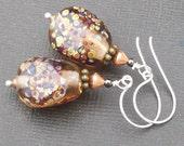 artisan lampwork earrings clear amber brown with raku frit organic nugget beads- raku nuggets