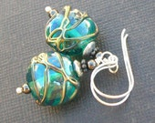 artisan lampwork glass earrings clear teal stringer wrapped beads- teal wrapt