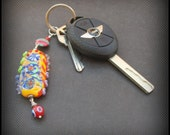 key ring chunky lampwork glass orange red, yellow blue, green crazy beads- primary colors