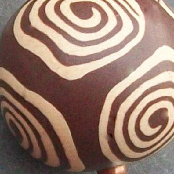 polymer clay earrings brown and ivory swirl beads- infinity